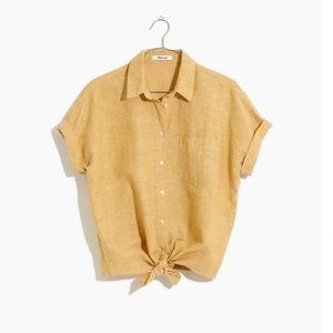 Madewell Short Sleeve Tie Front Top Women's Large